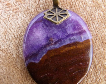 Purple Lace Chalcedony Picture Stone Necklace
