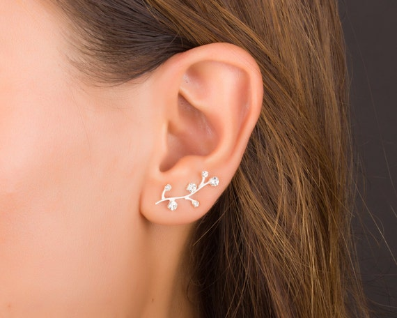 sterling silver ear climber earrings ear crawler cuff. Black Bedroom Furniture Sets. Home Design Ideas