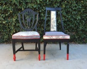 Pair of Vintage Chairs, Black, Red and White, Side chairs, Dining Chairs, Custom upholstered chairs, Desk chair, Black chairs, Los Angeles