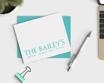 Last Name Family Stationery - Notecard set - Personalized Notecards - Stationary