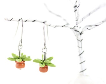 Tiny Plant Earrings - ONE PAIR, Miniature Potted Plant Earrings, Plant Jewelry, Succulent Earrings, Succulent Jewelry