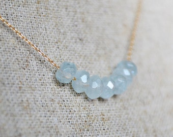 aquamarine delicate necklace - the ICICLES necklace /// delicate bridal jewelry /// march birthstone