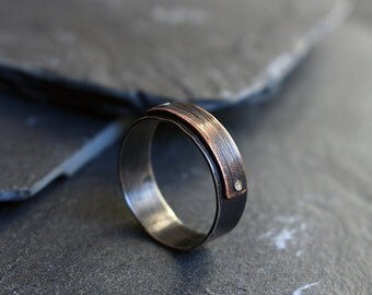 SALE Mens silver ring, Wide band, 925 sterling silver band with copper element, Mixed metal ring, Oxidized sterling ring for men