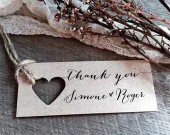 Wedding Thank You Tags, Personalised Thank You Tags, Thank you Tags, Thank you, Wedding Thank you, Kraft Thank you Tags