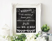 Printable Message in a Bottle Sign, leave your advice and well wishes for the new mr & Mrs sign, reception sign,  8x10, Digital, File, Mt1
