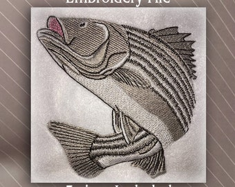 Striped Bass embroidery design file pattern in 3 sizes fishing embroidery file pattern marine fish