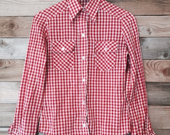 Retro Levi's Red And White Gingham Western Shirt