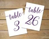 Purple Table Numbers 1-30, Bella Script DIY Printable Table Numbers for Wedding // Purple Wedding Decor // 5x7, 4x6 Table Numbers Printable