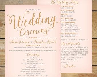 Blush Pink and Gold Wedding Program Fan // Printable Wedding Paddle Fan Program, Modern Calligraphy Wedding Programs