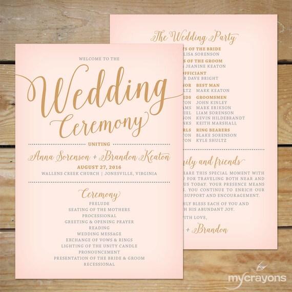 Blush Pink And Gold Wedding Program Fan Printable Wedding