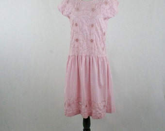 1970s Pink Floral Embroidery Drop Waist Dress by Salma Made in Mexico