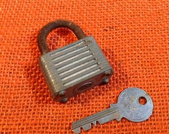 Vintage Diamond Padlock Lock with One Key -