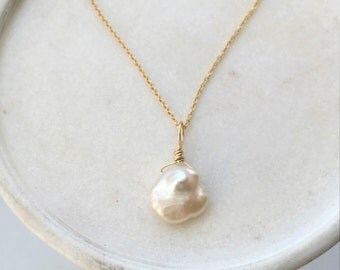 fresh water keshi pearl necklace gold filled chain