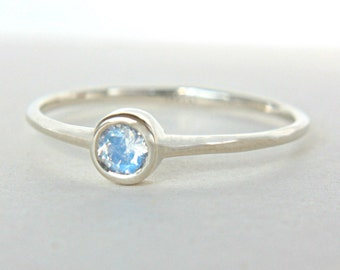 White Gold Moonstone Ring 14k Gold Natural Moonstone White Gold Ring Rainbow Moonstone Engagement Ring Alternative Engagement Ring