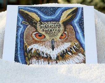 Owl postcard, flat note card, owl invite, owl greeting card,blank greeting cards,art print postcard,cute postcard,bird stationery, Item #WC1
