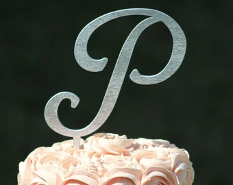 Silver Monogram Wedding Cake topper - Wooden wedding cake topper - Personalized Wedding Cake Topper