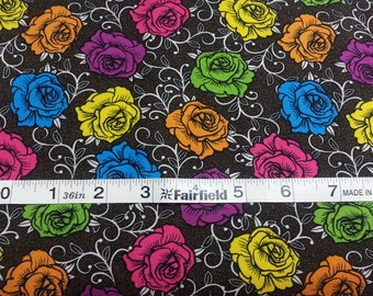 100% cotton Quilting fabric by the 1/2 yard Roses that match the  listing of skulls Dia de los muertos, dark brown background multicolor