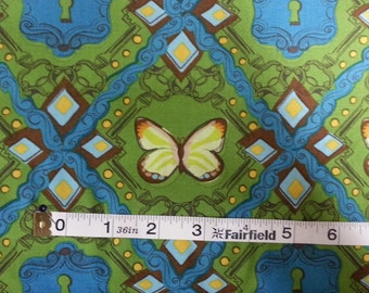 100% cotton Quilting fabric by the 1/2 yard bold vintage style butterfly, colorful, yellow green blue and key hole
