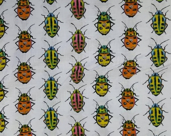 100% cotton Quilting fabric by the 1/2 yard of wounderful bugs, insects, beetles.  Just wounderful  fun fabric.  Camp shirt?