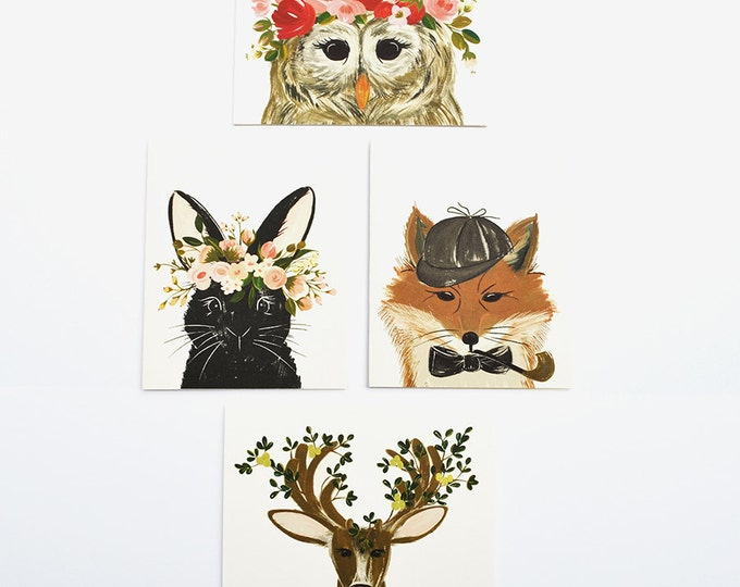 Set of 4 Cards Forest Animal Collection