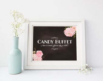 """INSTANT DOWNLOAD - Candy Buffet Printable Sign 8x10"""" DIY Wedding Signage.... Peony Flower Design"""