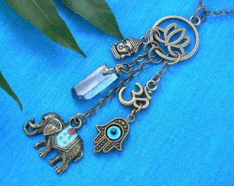 spiritual necklace zen necklace yoga necklace protection necklace Ganesha  necklace Buddha necklace hamsa boho style