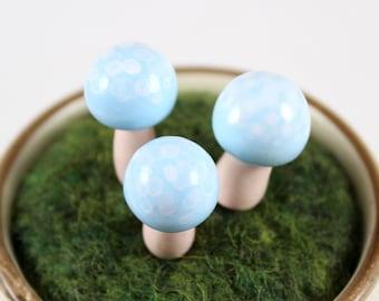 Blue Fairy Mushroom (Set of 3) - Polymer Clay Mushrooms - Fairy Garden Mushrooms - Terrarium Mushroom - Blue Mushrooms - Terrarium Accessory