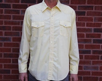 Men's Vintage Yellow Western Shirt by Malco Modes