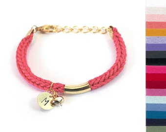 Initial bracelet, Personalized bracelet for teen girls with gold tube and heart charm