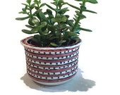 Vintage Studio Pottery Planter Hand Painted Striped & Dotted Succulent Planter Pot Bohemian Pink Modern Indoor Herb Garden Planter