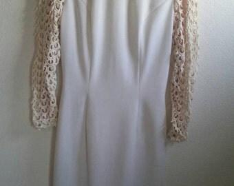 Vintage White mod dress with crown trim