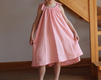 Flower girl dress Pink White Orange linen special occasion birthday beach wedding baby party