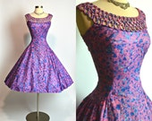"""Jaw Dropping 1950's Vintage Cotton Purple Pink and Blue Splatter Print New Look Dress with Prong Set Rhinestones Caged Neckline 29"""" Waist"""