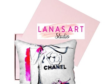 Glam Pillow Cover, Chanel Home Fashionable Accessories, Pillowcase, Artsy Throw Pillow, Colorful Design Pillow , Modern Home Decor