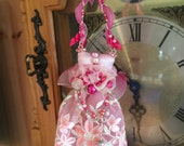 Holiday Ornament Pink Pearls Lace Dress Gift