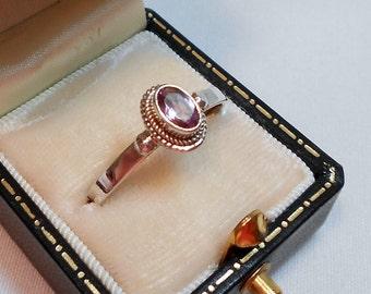 Vintage Sterling Amethyst Ring - Sz. 10