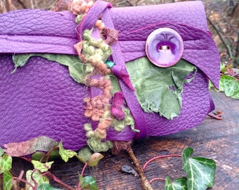 RESERVED: Woodland Fae- Dark Purple- Leafy Green Leather Pouch- Textures- Fibers- Art Bag