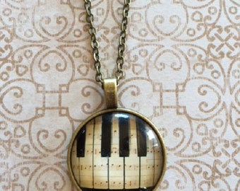 Piano Key Necklace Real Ebony Piano Necklace Gift for