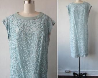 1960s blue dress | vintage 60s blue dress | Leslie Pomer Dress | Large | The Bellissime Luci Shift Dress