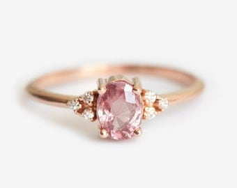 Engagement Ring, Sapphire Engagement Ring, Peach Sapphire Engagement, Mini Cluster Ring, Diamond Cluster Ring, Cluster Engagement