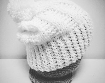 White Chunky Winter Hat with Pom Pom
