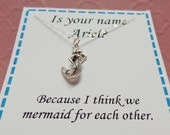 Funny Romantic Gift Necklace Mermaid For Each Other Sterling Silver Mermaid Necklace Pick Up Line