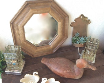 Octagon Wall Mirror Hanging Wall Mirror Octagon Styroco 1980s Light Weight Faux Wood Framed Wall Mirror Vanity Mirror Rustic Wall Mirror