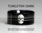 12MM, SKULLZ Free Engraving Tungsten Carbide Band 12mm High Polish Black Beveled SKULLZ Rocker Ring Design Ring