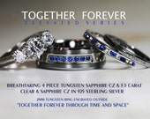 Breathtaking 4 Piece Doctor Who Inspired His 8mm  Tungsten + Hers 925 Sterling Silver 3.5 Carat Brilliant & Sapphire CZ Wedding Set,