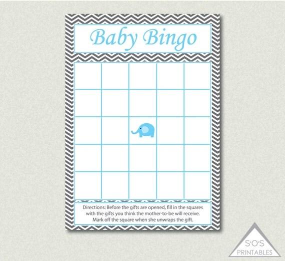 Blue Elephant Bingo Elephant Baby Shower By Sosprintables