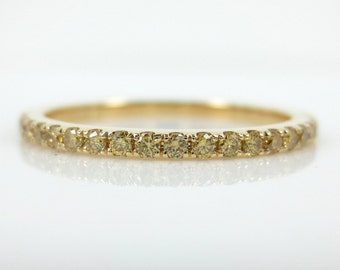 Half-set Fancy Yellow Diamond Pave 18k Yellow Gold Band