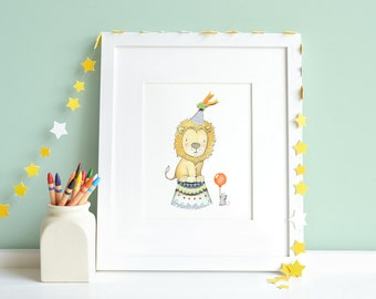 Circus Lion, UNFRAMED Children's Art, Bright Color Print, Circus Theme Nursery, Kid's Bedroom Art, Fun Fair, Carnival Picture