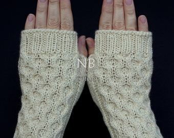 Hand Knitted Fingerless Gloves, Ivory, Gloves & Mittens, Gift, For Her, Christmas, READY TO SHIP, size M, M/L