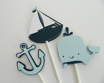 Light Blue Nautical Cupcake Toppers, Cupcake Toppers, Sailboat Cupcake Toppers, Anchor Cupcake Toppers